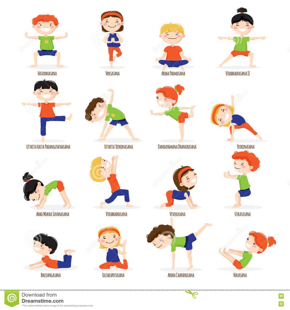 Детская йога для начинающих, упражнения в картинках