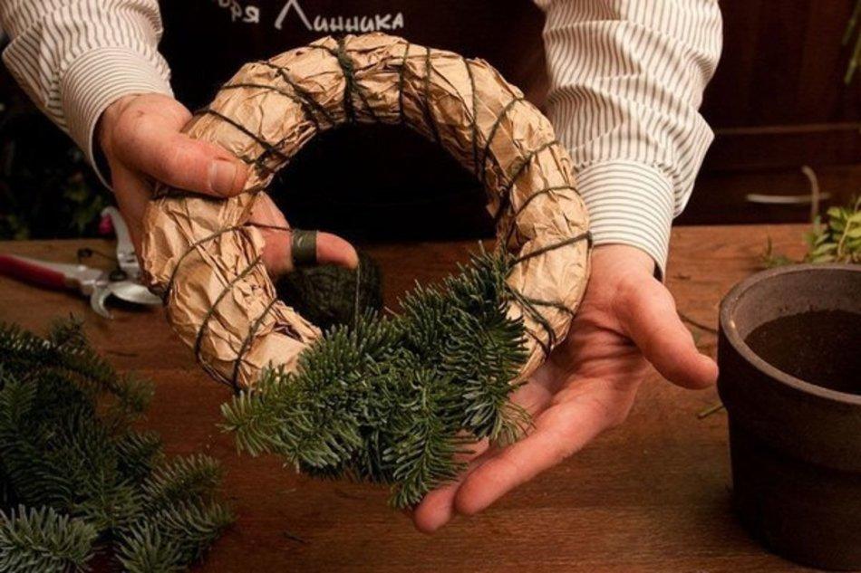Рождественский венок в подарок своими руками