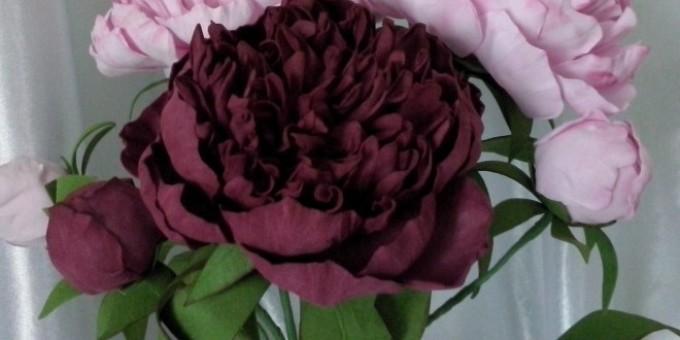 gotovii-pion-iz-materiala Цветы из фоамирана своими руками 75 фото для начинающих