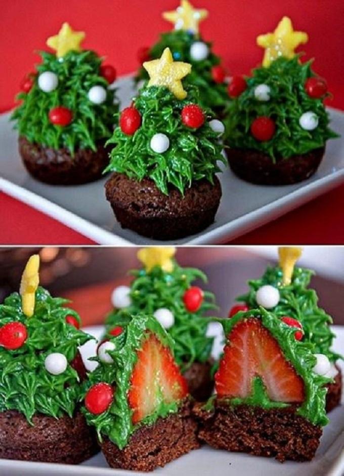 Оформление десерта елочкой к новому году