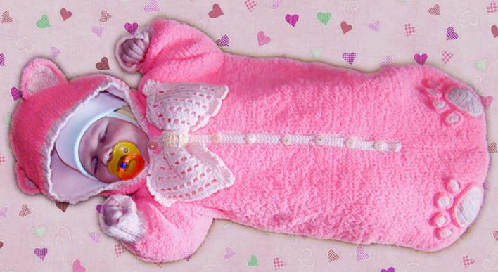 detskii-konvert-dlya-devochki-spicami Конверт для новорожденного зимний: вязание спицами