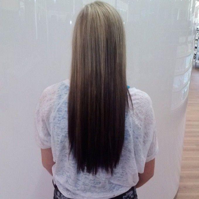 Темное омбре на прямых волосах