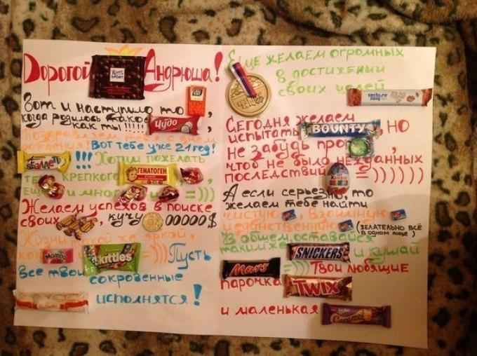 Плакат с вкусняшками и поздравлениями