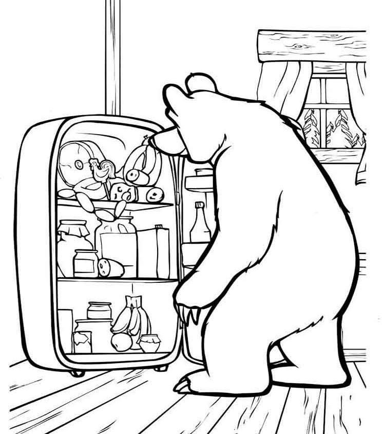 раскрашивать картинки на компьютере маша и медведь выпекается