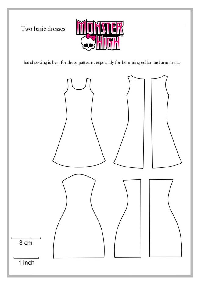 d9c6e7617cbb6b9ff1c83fbe933b0d50 Как сшить одежду для куклы Барби и Монстер Хай своими руками: выкройки, схемы, фото. Как сшить карнавальный костюм для куклы Барби и Монстер Хай своими руками?
