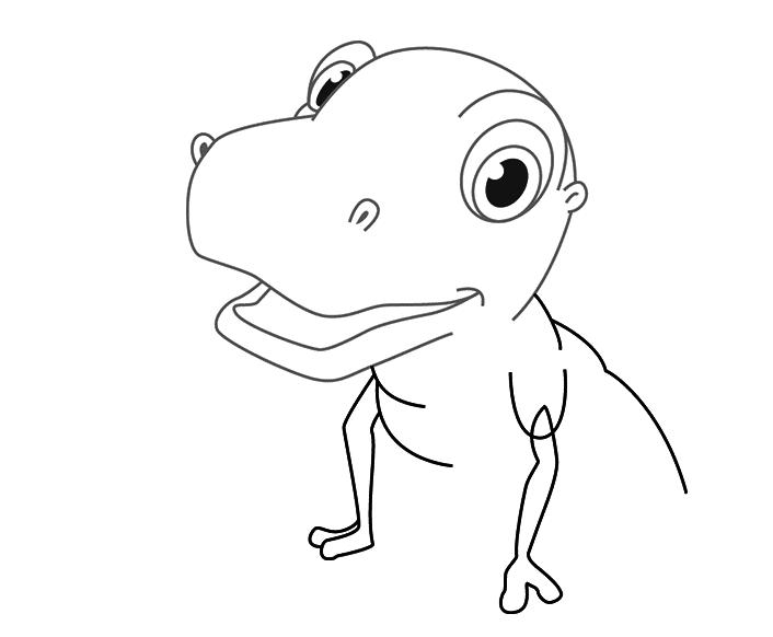 Динозавр тирекс карандашом, шаг 2