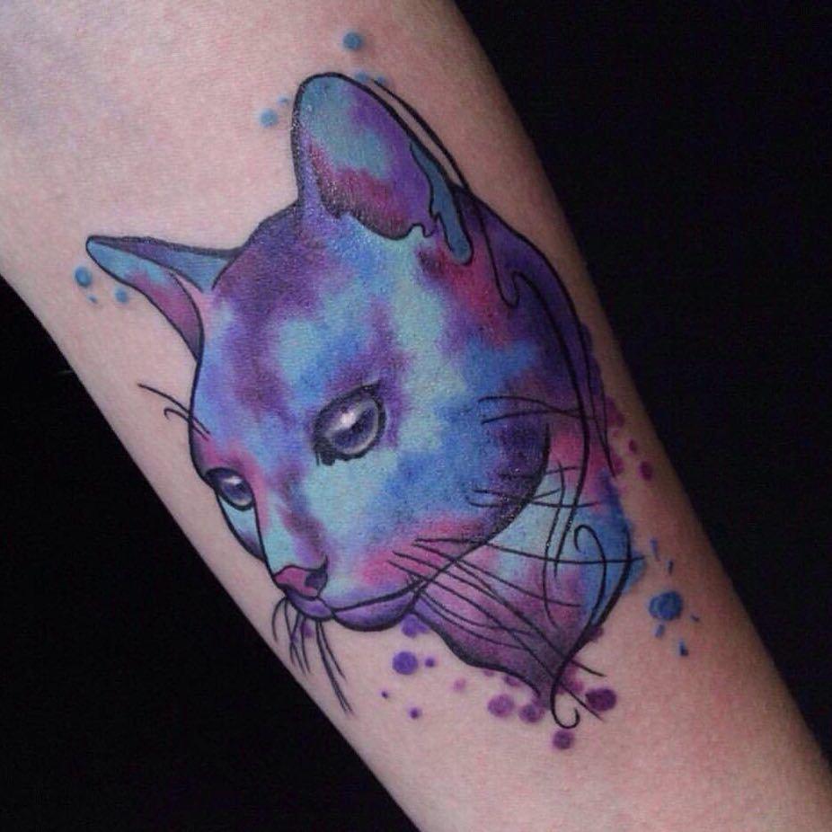 Татуировка кот в стиле - акварель