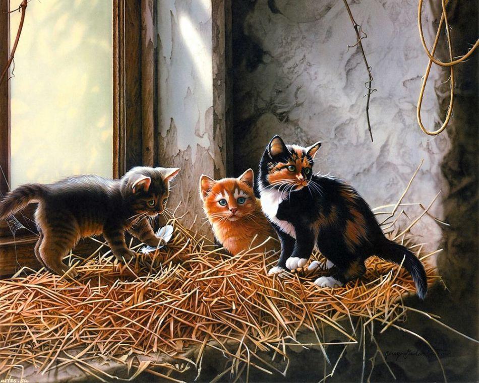 Кошки любят понежиться на соломе, но в качестве наполнителя для когтеточки она явно не подходит