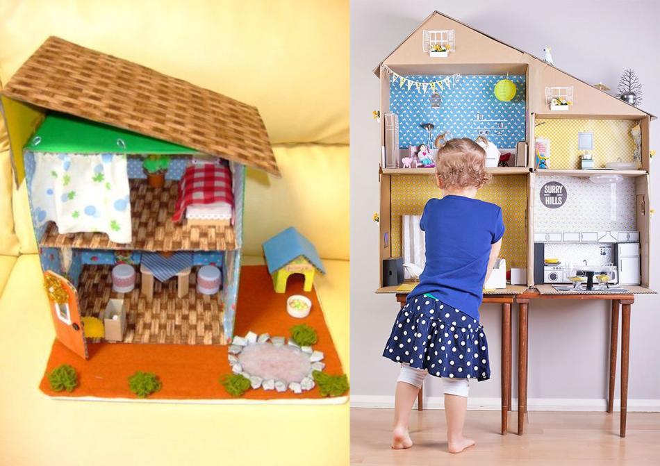 mnogokvartirnii-dom-iz-kartonnih-yashikov Домик и мебель для кукол своими руками из картона: схема, выкройка, фото. Как сделать кровать, диван, шкаф, стол, стулья, кресло, кухню, холодильник, плиту, коляску для кукол из картона своими руками