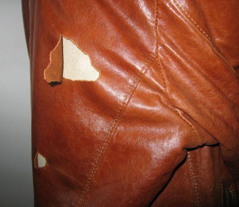ремонт порезов кожи куртки фото экономии