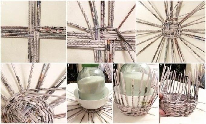 Схема плетения корзинки из газетных трубочек фото 618