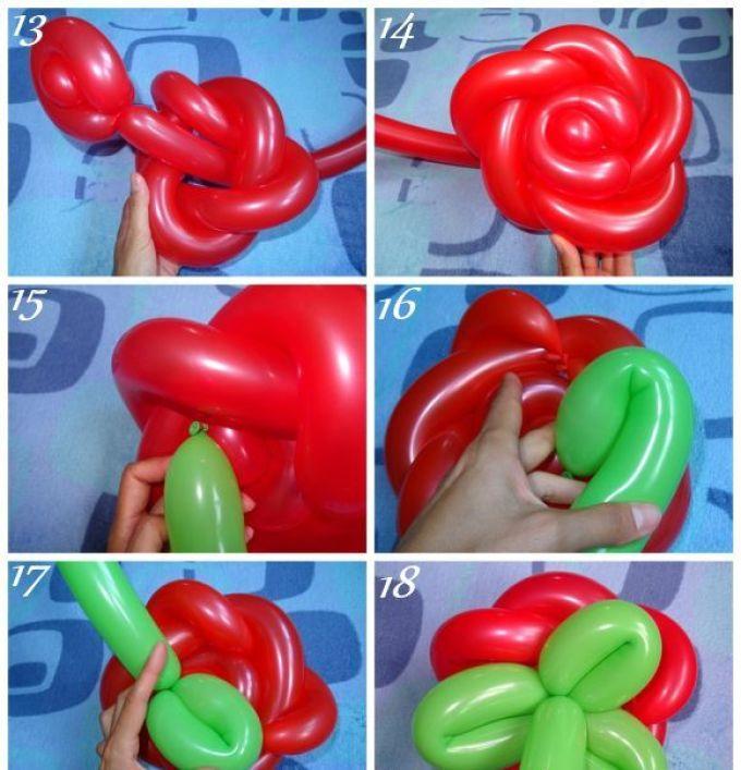 Розочка из длинных воздушных шаров