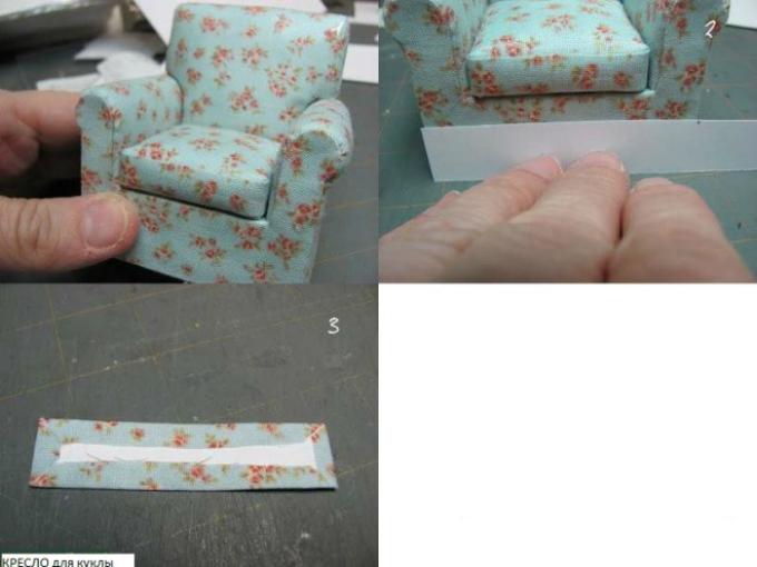 kak-sshit-kukolnoe-myagkoe-kreslo-svoimi-rukami-iz-podruchnih-materialov-shag20 Домик и мебель для кукол своими руками из картона: схема, выкройка, фото. Как сделать кровать, диван, шкаф, стол, стулья, кресло, кухню, холодильник, плиту, коляску для кукол из картона своими руками