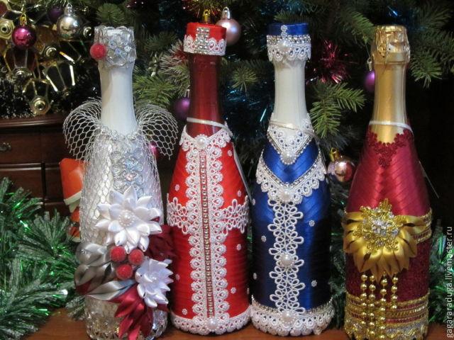 Как украсить шампанское своими руками 263