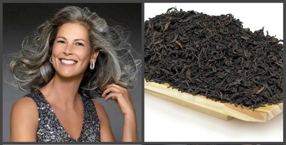Улыбчивая женщина с пепельным тоном на волосах после окрашивания чаем
