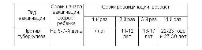 Обычные сроки проведения пробы манту