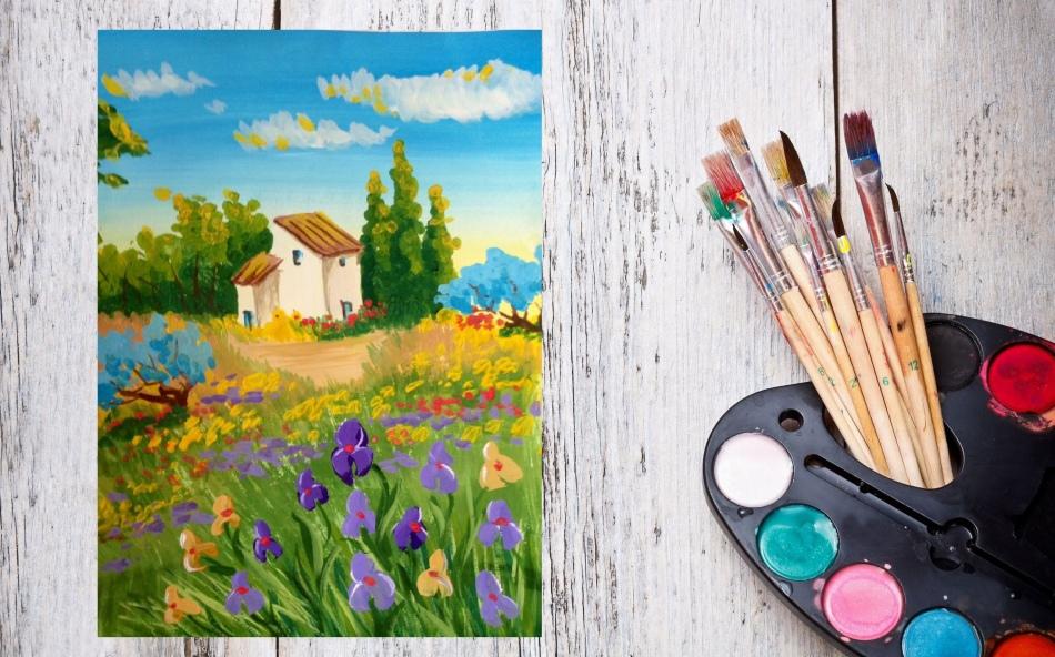 Рисуем клумбу красками