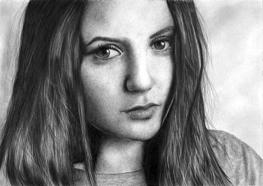 Рисунки портреты для начинающих девушек
