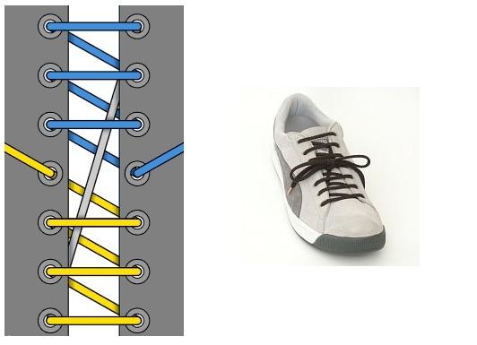 Красивая шнуровка кроссовок с 8 дырками