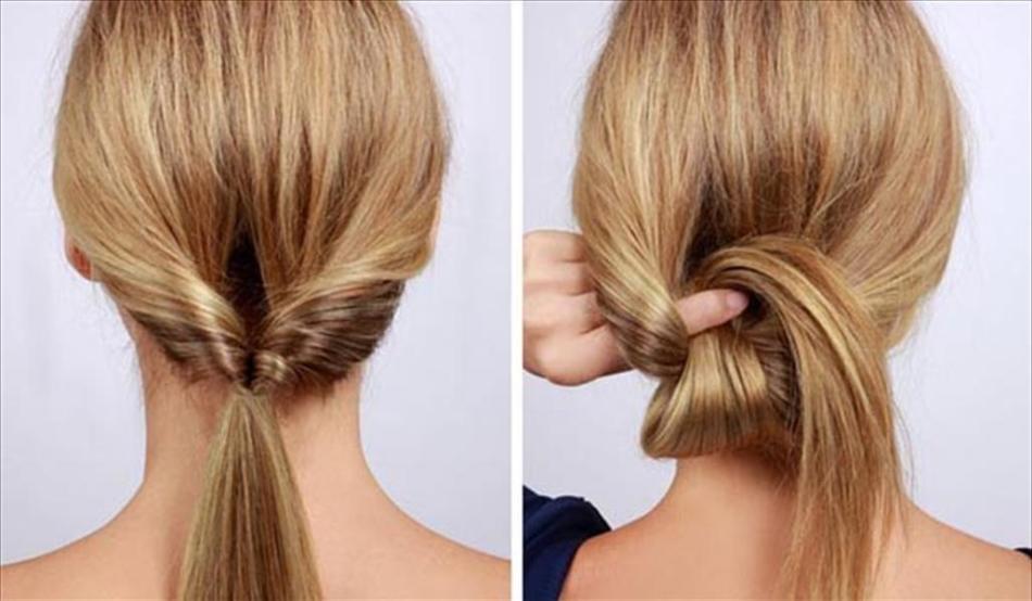 Проворачивание хвостика в процессе создания низкого пучка для коротких волос