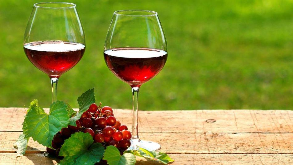 Пара бокалов домашнего красного вина