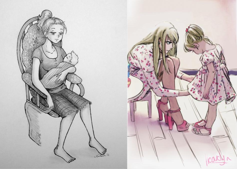 Лет день, мама и дочка смешные картинки нарисованные