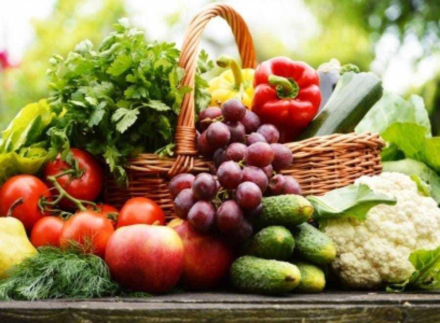 Собранная корзина с овощами, зеленью и ягодами со своего участка