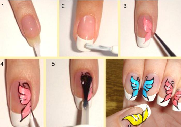 Простые и красивые рисунки на ногтях для начинающих пошагово видео