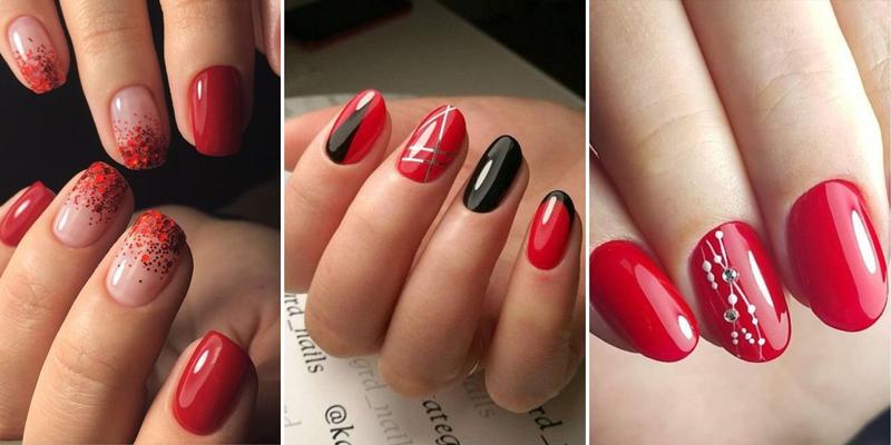 Ногти Квадратные Красные С Рисунком