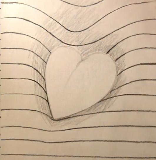 dopolnyaem-risunok-iskrivlennimi-liniyami Как нарисовать 3д (3d) рисунок на бумаге карандашом