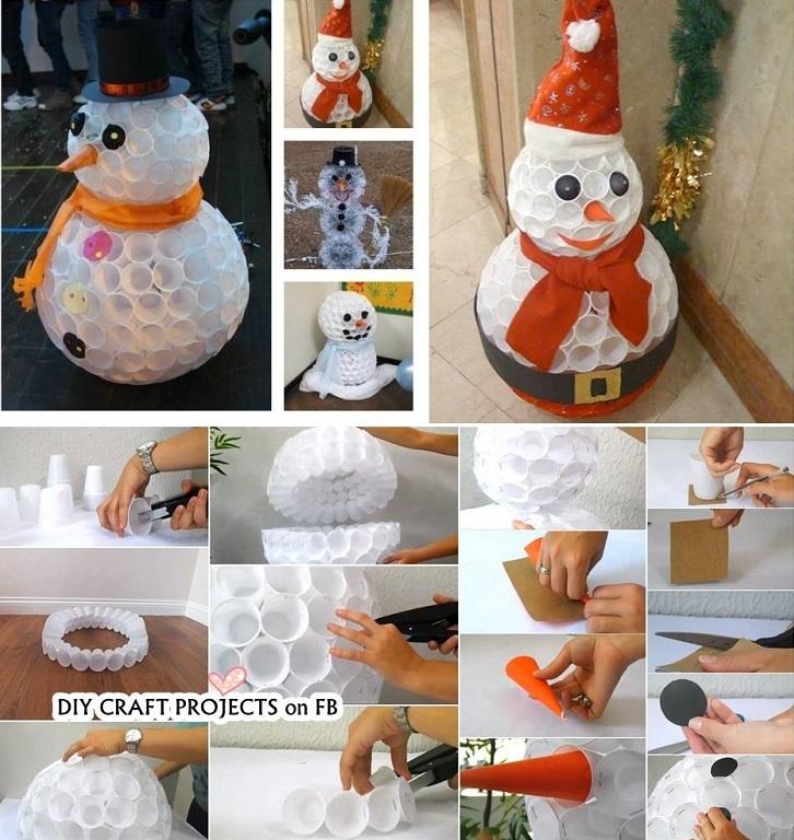 fotoinstrukciya-po-sborke-snegovika-iz-plastikovih-stakanchikov Как сделать снеговика из пластиковых стаканчиков своими руками: инструкция, рекомендации по изготовлению. Украшение снеговика из пластиковых стаканчиков: идеи, советы, фото