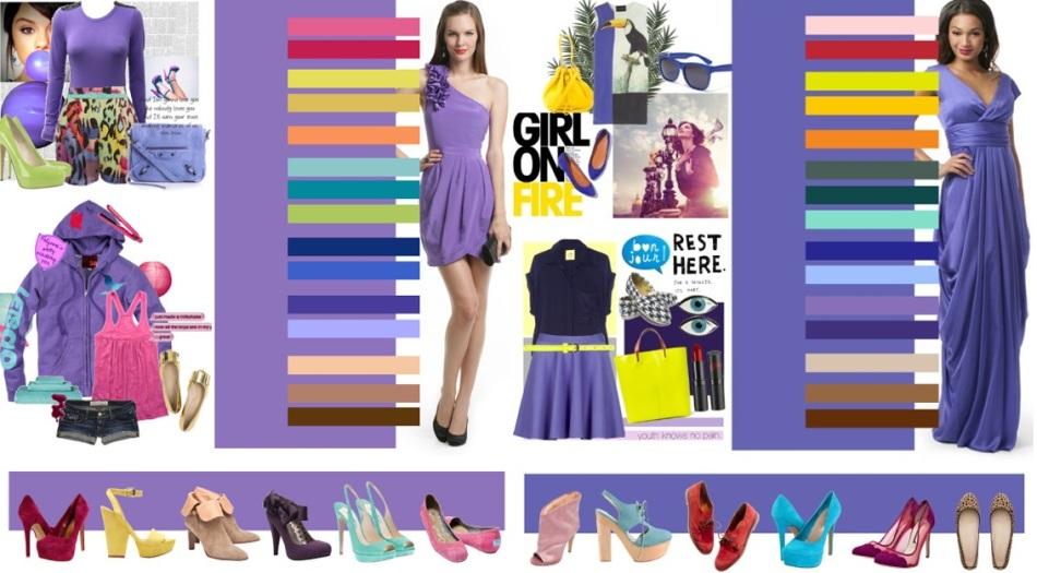 Сочетания с другими оттенками и цветами фиолетового