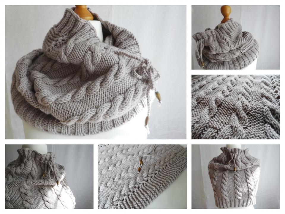 Как связать снуд хомут круговой шарф спицами?