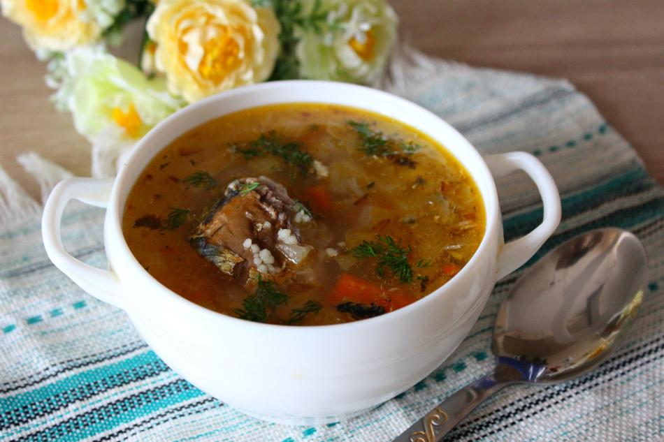 Суп с консервами, рисом