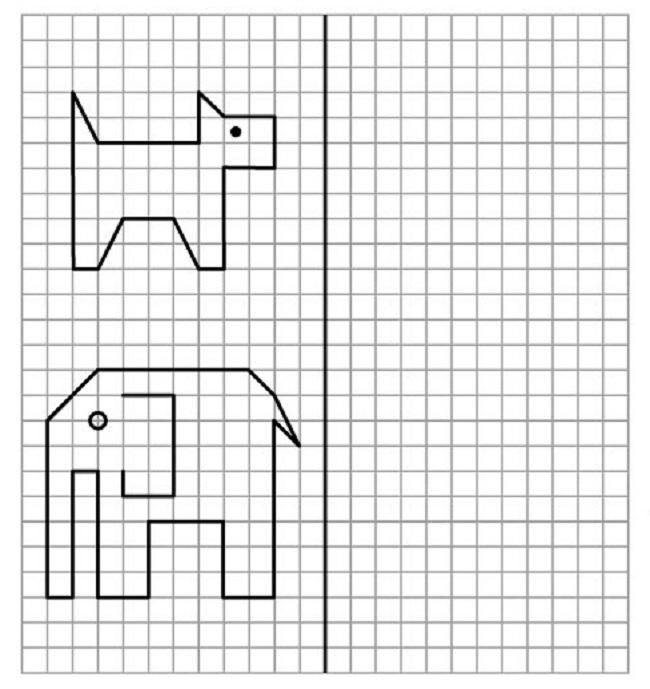 foto21-slon-i-moska-po-kletochkam Как нарисовать слона поэтапно: 5 вариантов как легко и просто нарисовать слона карандашом