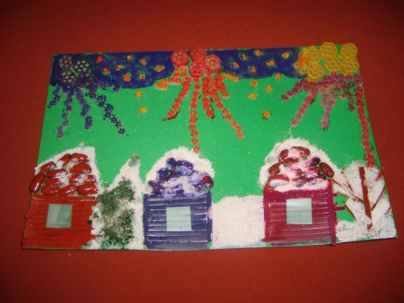 applikaciya-makaronami-i-krupami Аппликации из цветной бумаги шаблоны распечатать для детей 2-3, 4-5, 6-7 лет. Фото. тема осень, зима, весна
