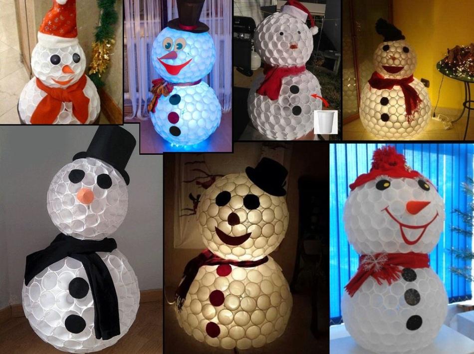 soedinyaem-snegovika Новогодний снеговик из пластиковых стаканчиков