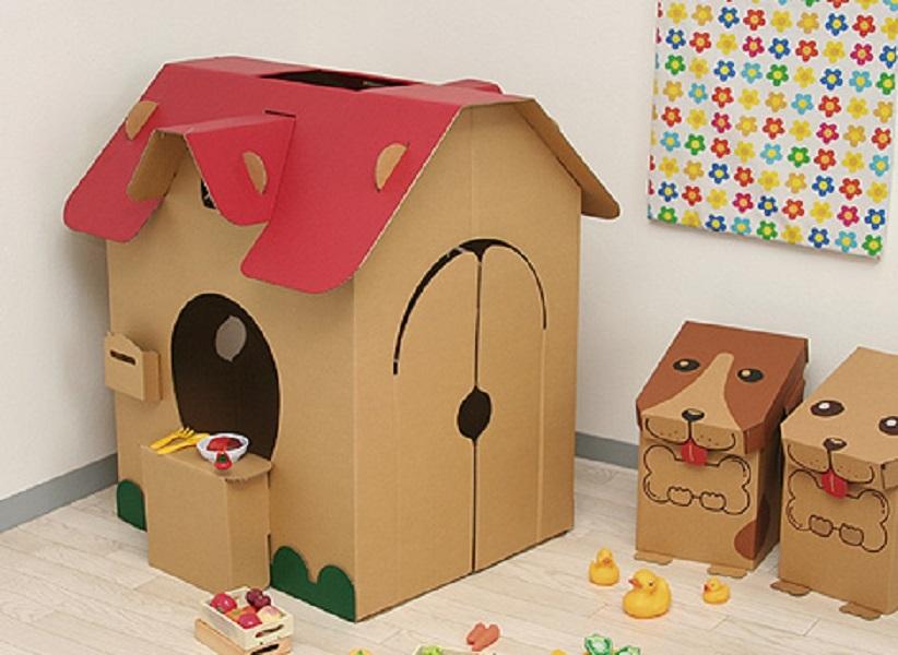domiki-iz-kartona-dlya-sobak Домик и мебель для кукол своими руками из картона: схема, выкройка, фото. Как сделать кровать, диван, шкаф, стол, стулья, кресло, кухню, холодильник, плиту, коляску для кукол из картона своими руками