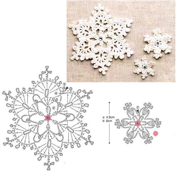 Салфетки крючком со схемами снежинки фото 794