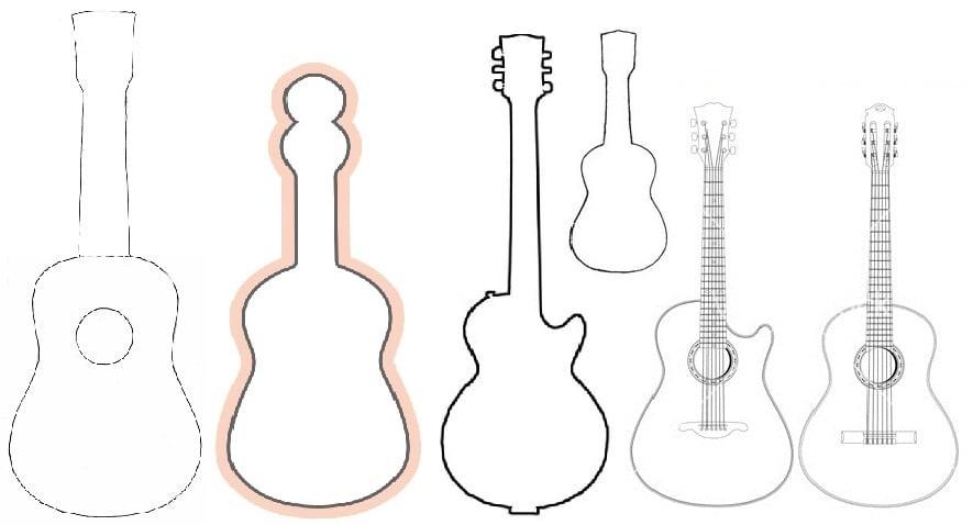 shablon-dlya-gitari-iz-kartona Куклы из бумаги своими руками (схемы, шаблоны) — Остров доброй надежды