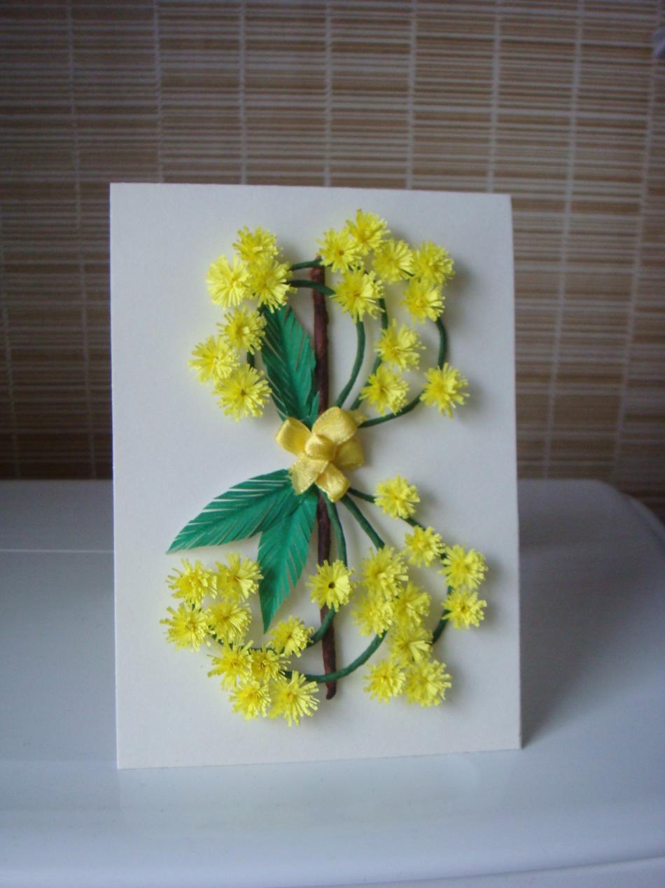 открытка на 8 марта своими руками цветы из салфетки имеют круглую
