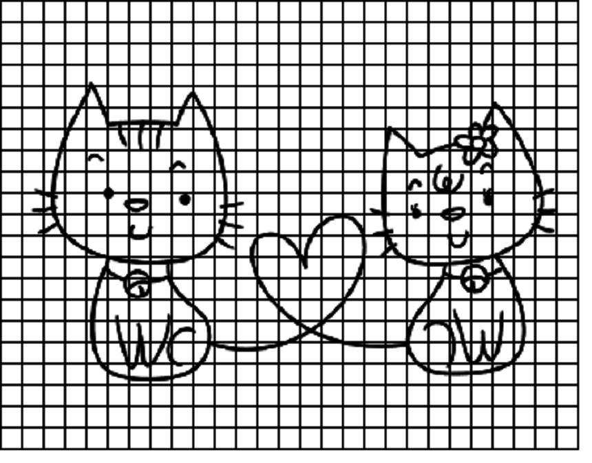kotyata-dlya-srisovivaniya-po-kletochkam Красивые и легкие рисунки для срисовки карандашом поэтапно для начинающих. Красивые и легкие рисунки по клеточкам для срисовки в тетради и личном дневнике для девочек и мальчиков