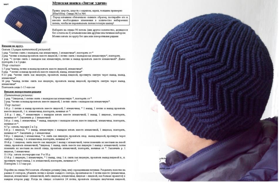 f3c9fd392fa88bd35c0976aa45043111 Простая мужская шапка спицами, схема мужской шапки спицами, пошаговое описание с фото. Мужская шапка спицами для начинающих