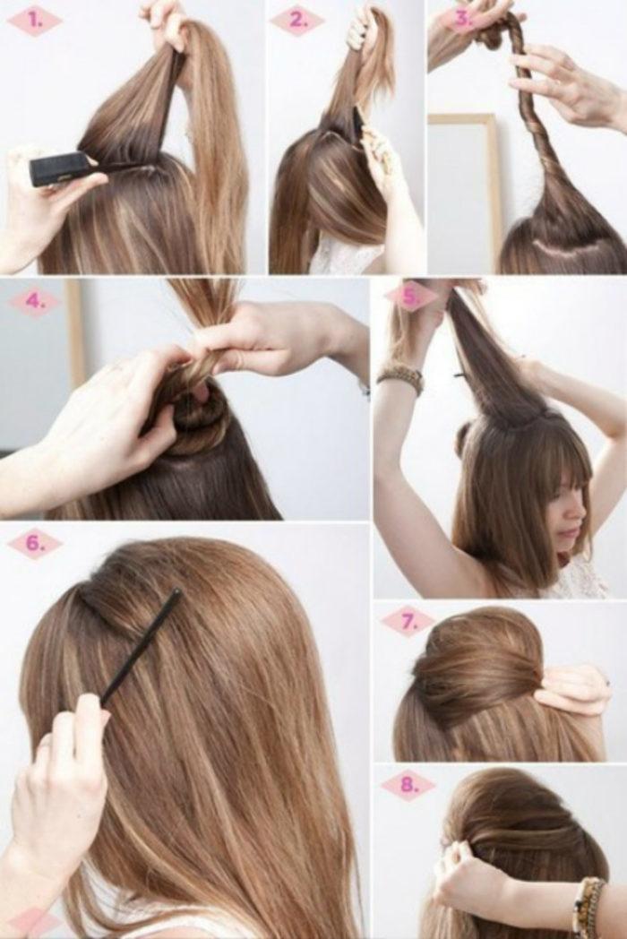 Прическа на длинные волосы бабетта с начесом