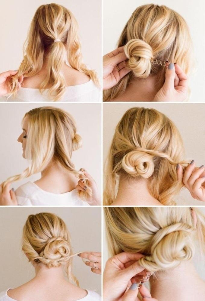 Схема создания низкого пучка на средние и длинные волосы