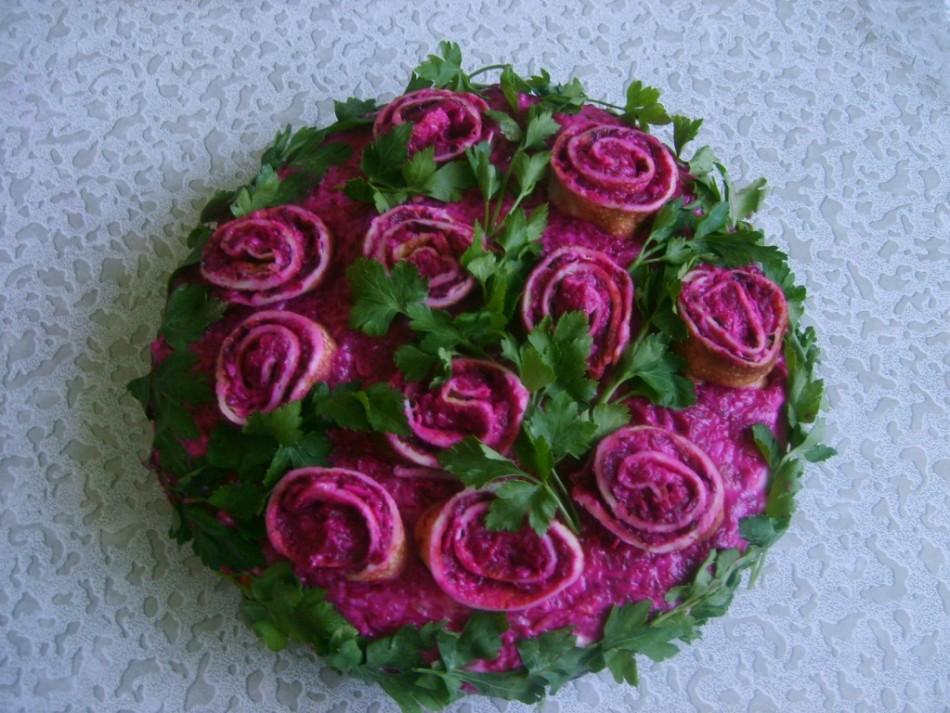 рецепт с фото салат розы из сельди линейке будет