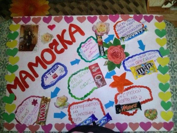 Открытка с днем рождения маме со сладостями