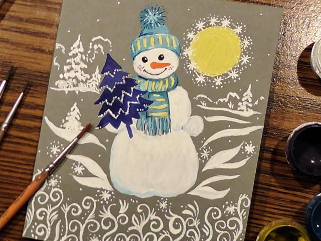 Днем, новогодние открытки красками для детей