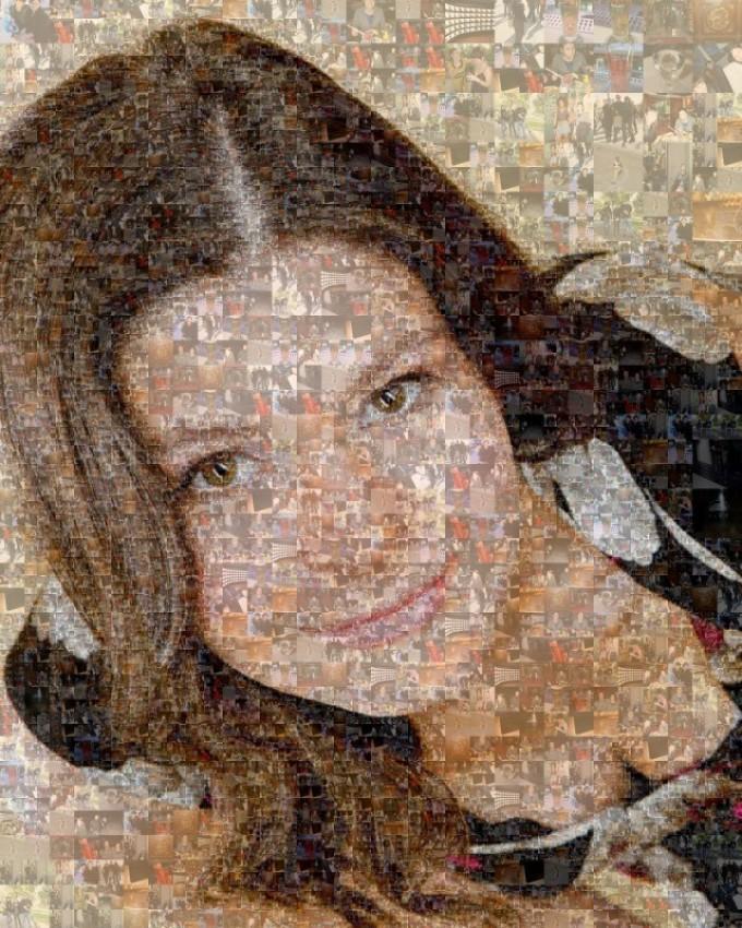 Портрет девушки в виде мозаики станет довольно необычным подарком