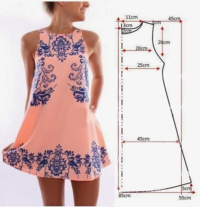 letnee-plate-sarafan-shema-vikroiki Выкройка платья трапеция: что представляет собой фасон трапеция — схема классической выкройки платья-сарафана. Платья трапеция для полных: схема чертежа. Выкройка расклешенного платья-сарафана